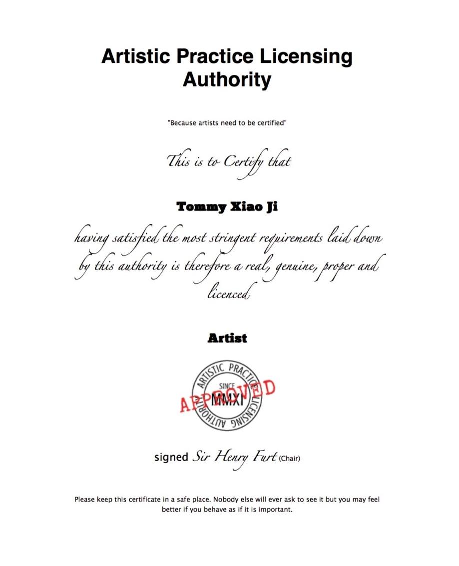 Artist Certificate - Tommy Xiao Ji
